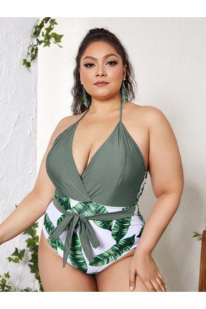 YOINS Plus Size Leaf Print Tie-up Design Deep V Neck Sleeveless Swimwear