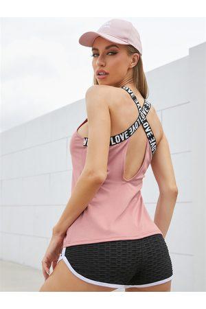 YOINS Letter Patchwork Design Round Neck Backless Vest