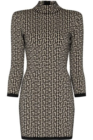 Balmain Women Knitted Dresses - Monogram-jacquard knitted mini dress