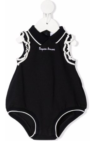Emporio Armani Baby Bodysuits - Logo-embroidered frill-trim shorties