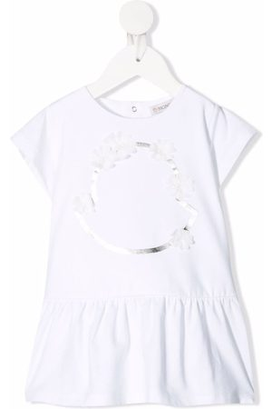 Moncler Floral-embellished flared T-shirt dress