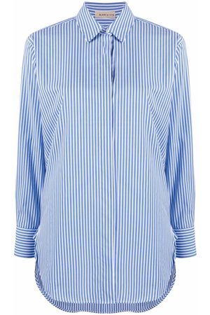 BLANCA Stripe-print cotton-blend shirt