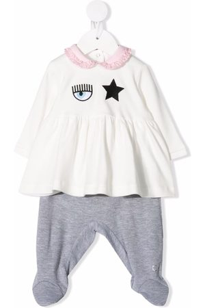Chiara Ferragni Baby Blouses - Embroidered cotton blouse and trouser set