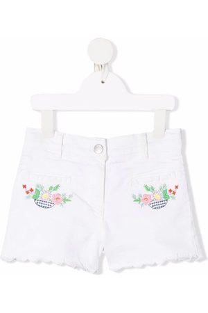 Stella McCartney Boys Shorts - Floral-embroidered denim shorts