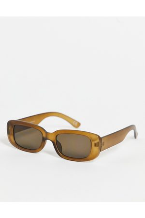 ASOS Mid rectangle sunglasses in with light lens