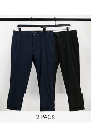 ASOS 2 pack skinny chinos in black & navy save-Multi