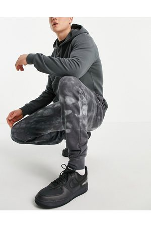 Le Breve Co-ord slim fit tie dye joggers in charcoal