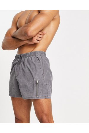 ASOS Swim shorts with MA1 pocket in charcoal acid wash in short length