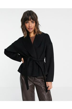 & OTHER STORIES Recycled wool cropped tie waist jacket in