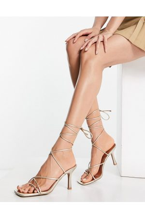 ASOS Hailey strappy tie leg mid heeled sandals in