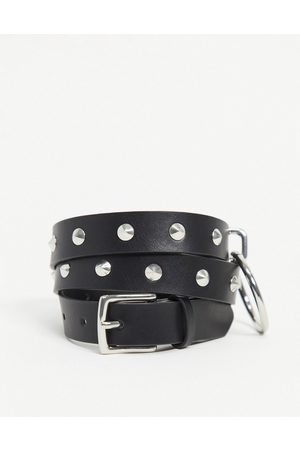 ASOS Skinny belt in faux leather with studs and ring detail