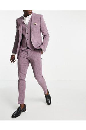 ASOS Men Skinny Pants - Wedding super skinny crosshatch suit trousers in wine twist