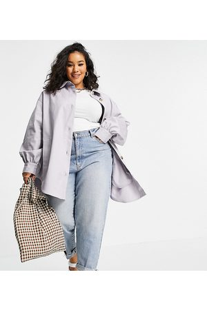 ASOS Curve oversized cotton shacket in lilac
