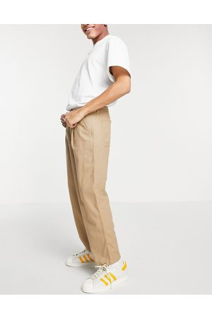 ASOS Men Chinos - Wide leg trousers with pleats in linen mix-Neutral