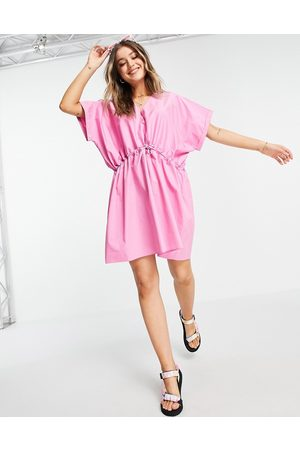 ASOS Women Casual Dresses - Cotton mini smock dress with gathered waist in