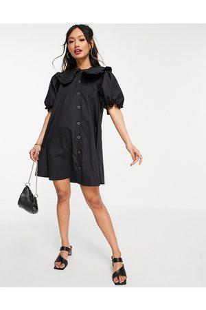 River Island Women Casual Dresses - Poplin oversized collared mini shirt dress in
