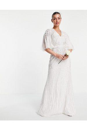 ASOS Women Maxi Dresses - Eliza flutter sleeve embellished wedding dress