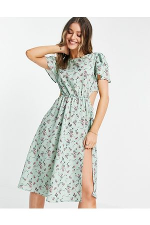 In The Style Women Casual Dresses - X Olivia Bowen cut out side midi dress with thigh split in sage floral print-Multi