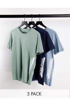 JACK & JONES Men Short Sleeve - 3 pack t-shirts in navy green blue-Multi