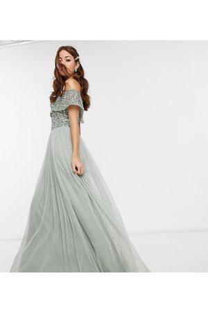 Maya Women Party Dresses - Bridesmaid bardot maxi tulle dress with tonal delicate sequins in sage