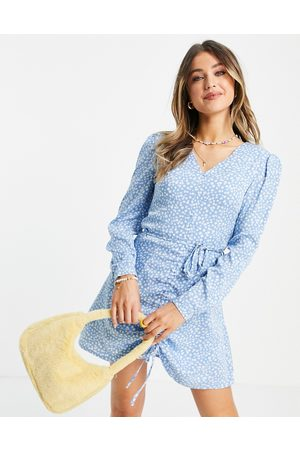 Daisy Street Women Casual Dresses - Long sleeve mini dress with ruched front in floral ditsy print