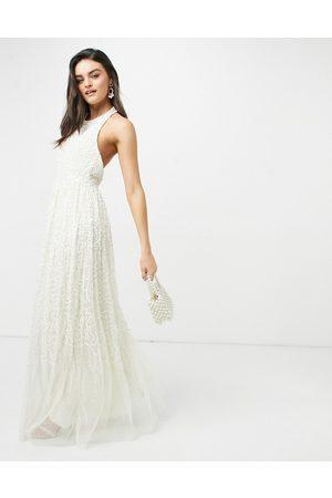 Maya Women Halterneck Dresses - Halterneck open back all over sequin maxi dress in ecru