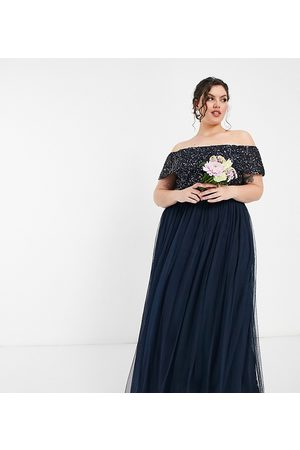 Maya Women Party Dresses - Bridesmaid off shoulder maxi tulle dress with tonal delicate sequin in navy
