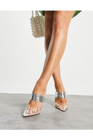 ASOS Women Sandals - Peace high heeled mules with piping detail in clear