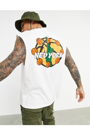 ASOS Men Camisoles - Oversized vest in organic cotton with New York city basketball print