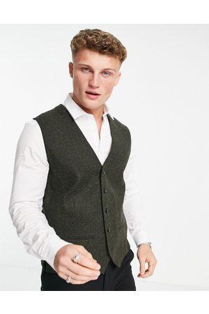 JACK & JONES Men Waistcoats - Premium suit waistcoat in khaki nep