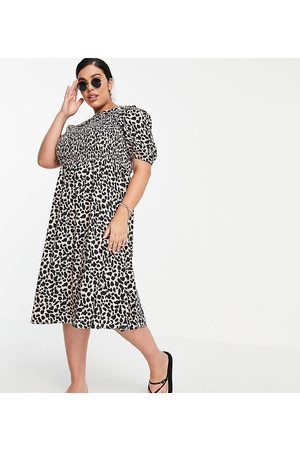 Wednesday's Girl Women Casual Dresses - Midi dress with shirring and collar in animal print-Neutral