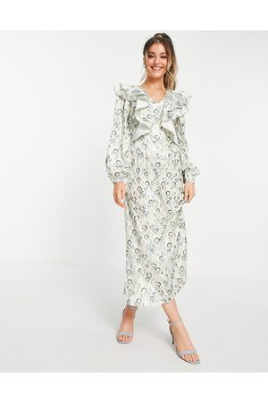 Never Fully Dressed Women Casual Dresses - Oversized collar midaxi dress in tile print