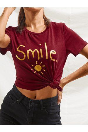 YOINS BASICS Letter & Sun Print Crew Neck Short Sleeves Tee