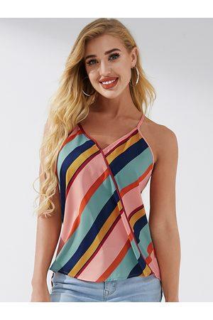 YOINS Multicolor Striped V-neck Sleeveless Cami