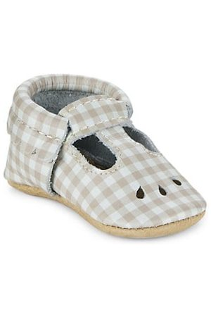 Freshly Picked Baby Shoes - Baby Girl's Almond Gingham Mary Jane Leather Shoes