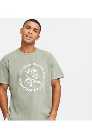 New Look Oversized printed t-shirt in washed khaki