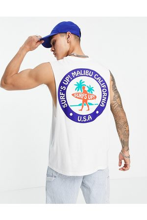 ASOS Relaxed vest in organic cotton with Malibu back print