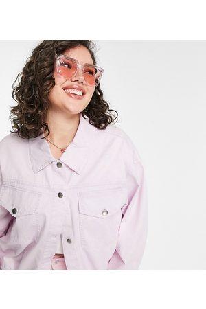 ASOS ASOS DESIGN Curve oversized acid wash jacket in lilac