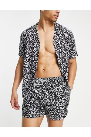 New Look Men Sets - Animal print short sleeve shirt co-ord in