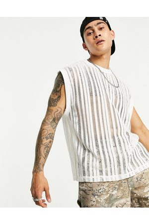 ASOS Relaxed vest in off white laddered mesh