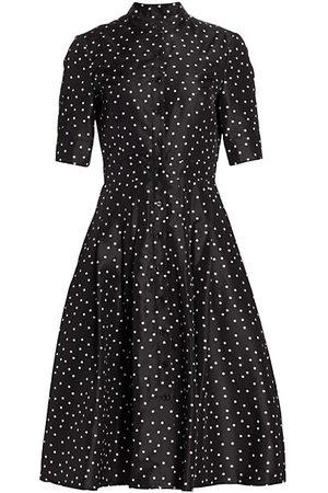 Carolina Herrera Puff-Sleeve Polka Dot Silk Shirtdress