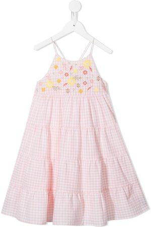 Velveteen Lara floral-embroidered gingham dress