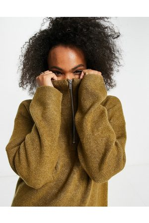 Monki Arwen oversized lounge knitted sweatshirt with zip funnel neck in camel-Neutral