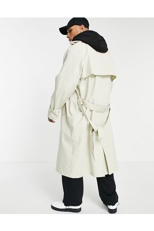 ASOS Oversized trench coat in stone with jersey hood-Neutral