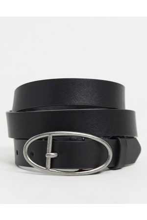 ASOS Skinny belt in faux leather with burnished silver oval buckle