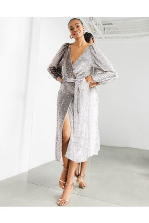 ASOS Ombre sequin wrap dress in