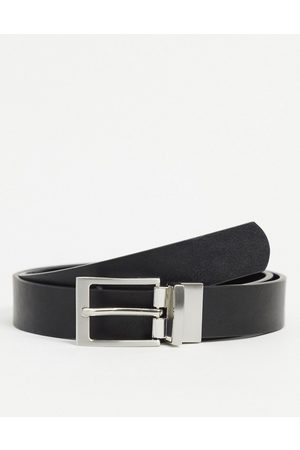 ASOS Smart slim reversible belt in patent emboss and faux leather