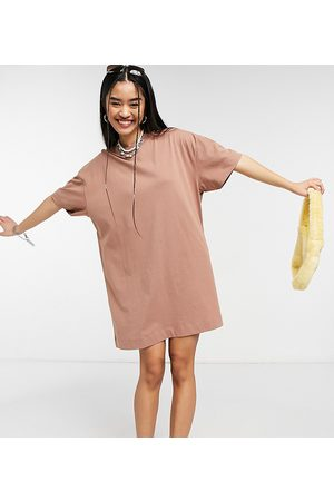 COLLUSION Short sleeve mini t-shirt dress in pale