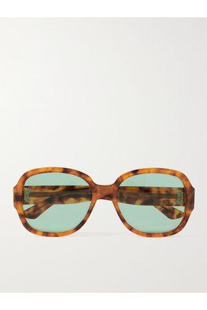 Gucci Round-Frame Tortoiseshell Acetate Sunglasses