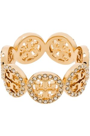 Tory Burch Crystal-embellished monogram ring